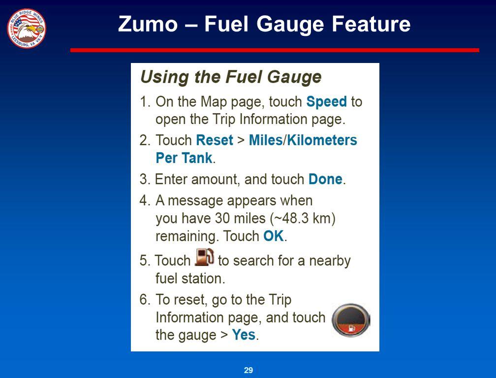 Zumo – Fuel Gauge Feature