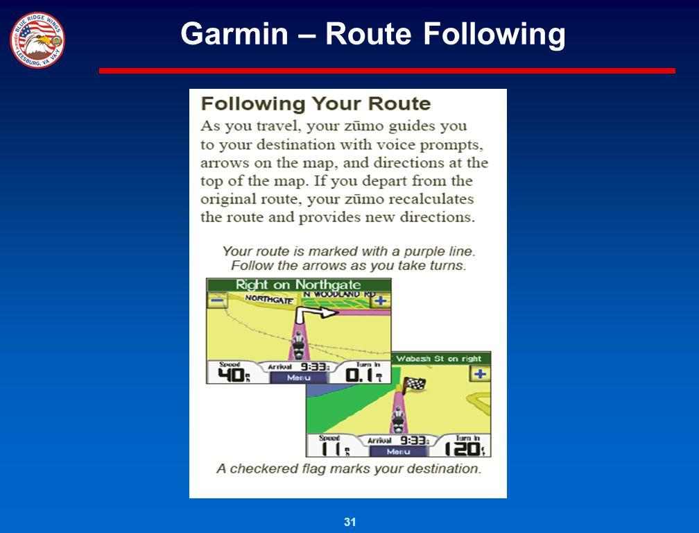 Garmin – Route Following