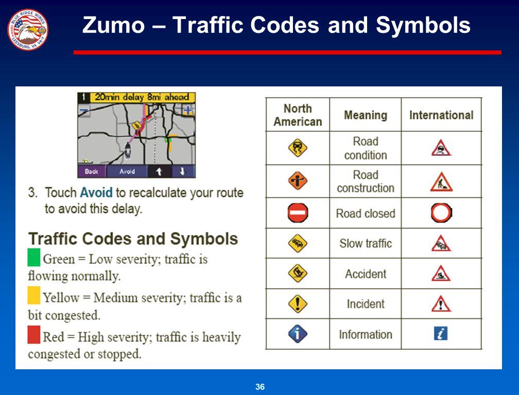 Zumo – Traffic Codes and Symbols