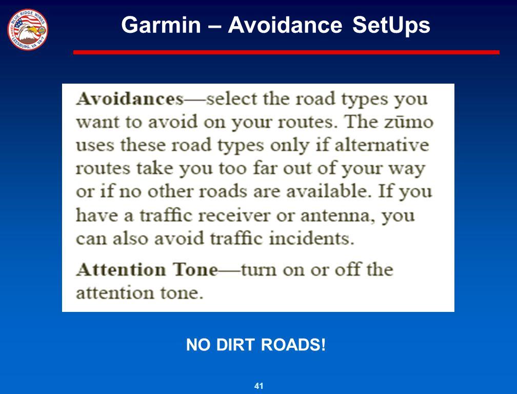 Garmin – Avoidance SetUps