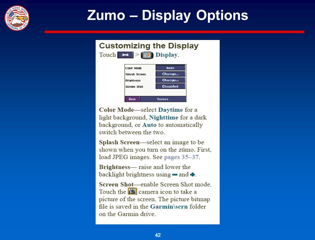 Zumo – Display Options