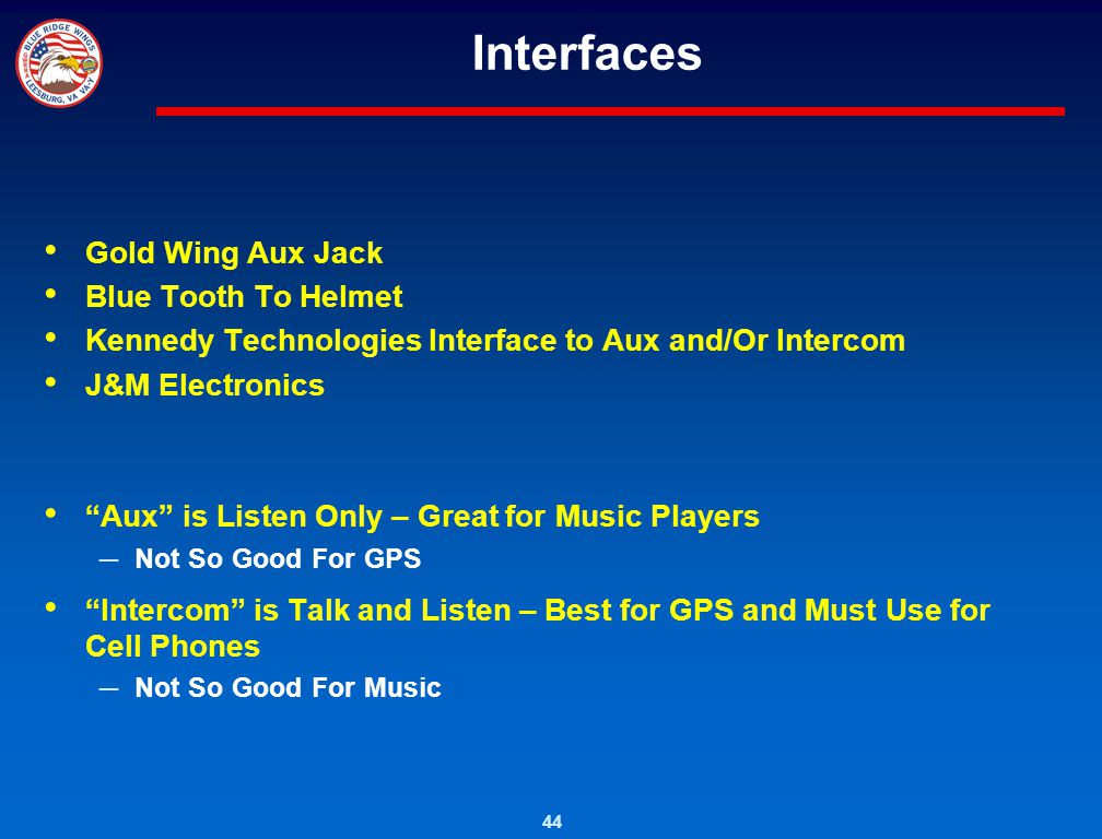 Interfaces Gold Wing Aux Jack Blue Tooth To Helmet