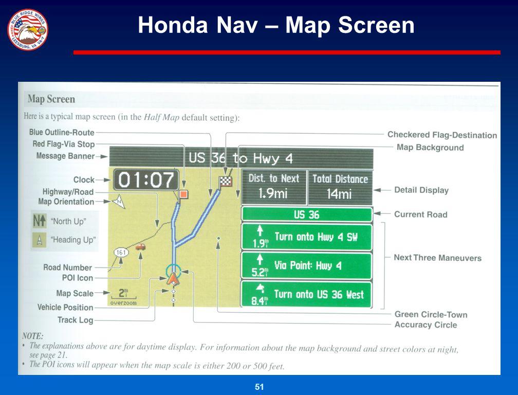 Honda Nav – Map Screen