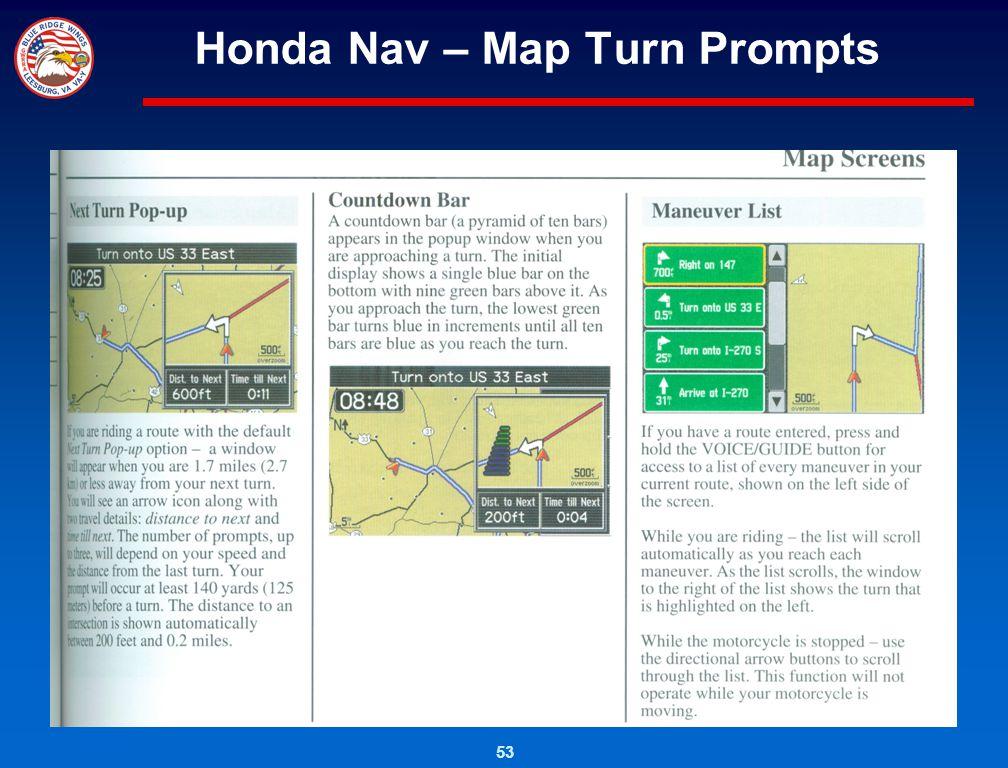Honda Nav – Map Turn Prompts
