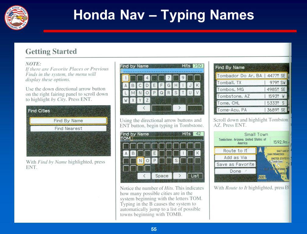 Honda Nav – Typing Names