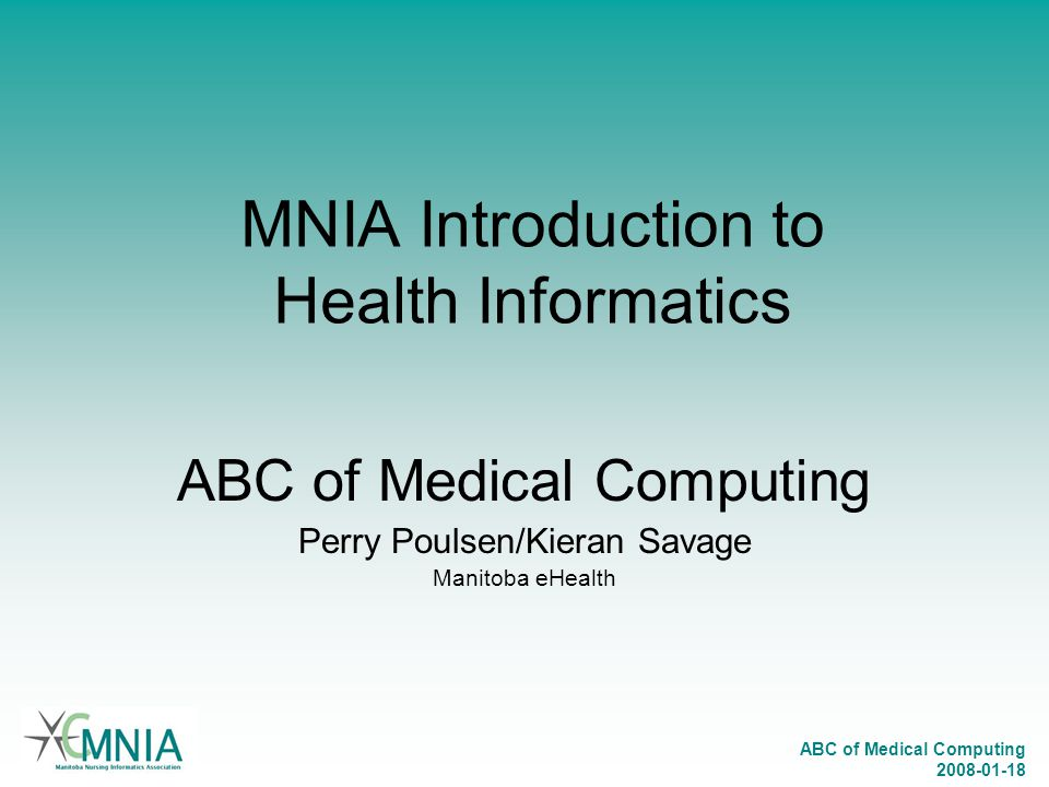 MNIA Introduction to Health Informatics