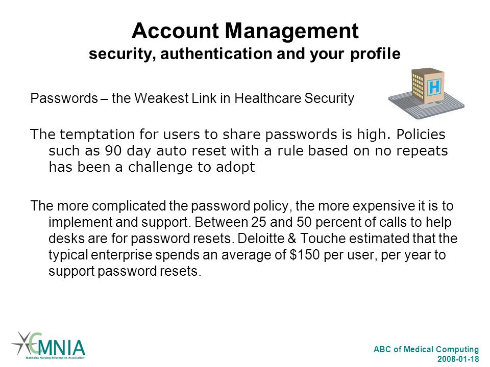 Account Management security, authentication and your profile
