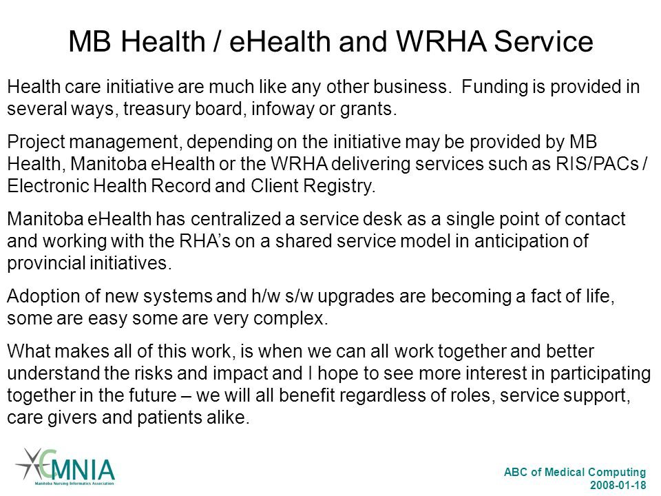MB Health / eHealth and WRHA Service