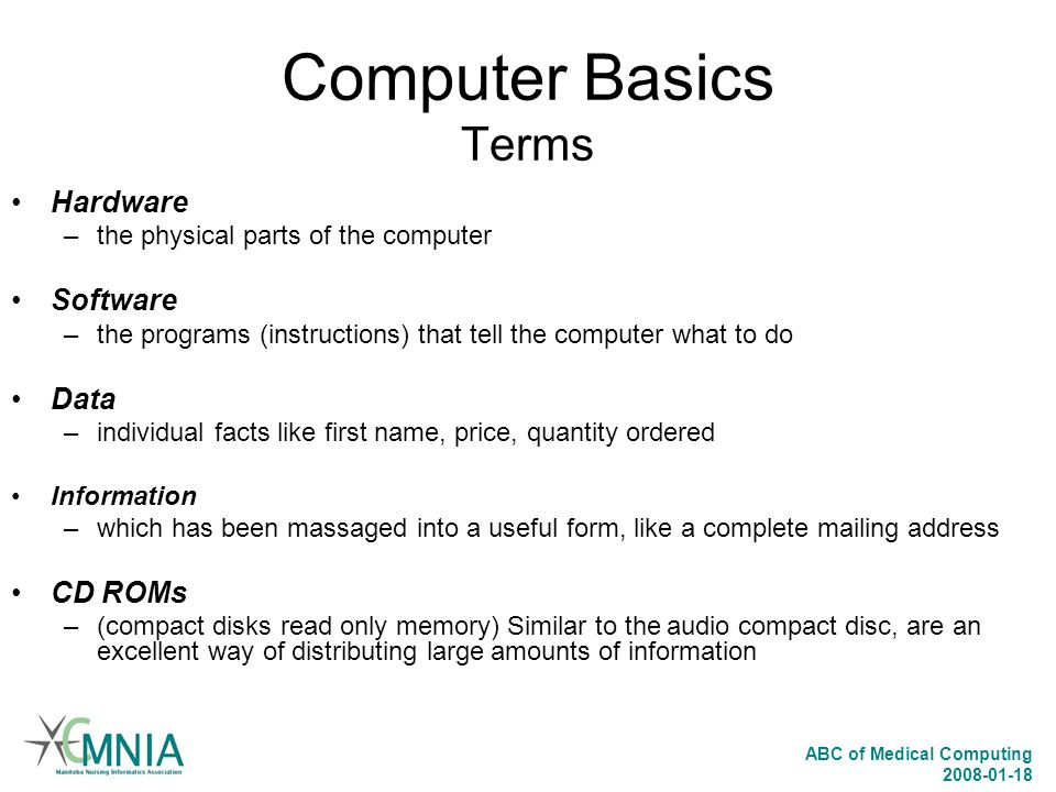 Computer Basics Terms Hardware Software Data CD ROMs
