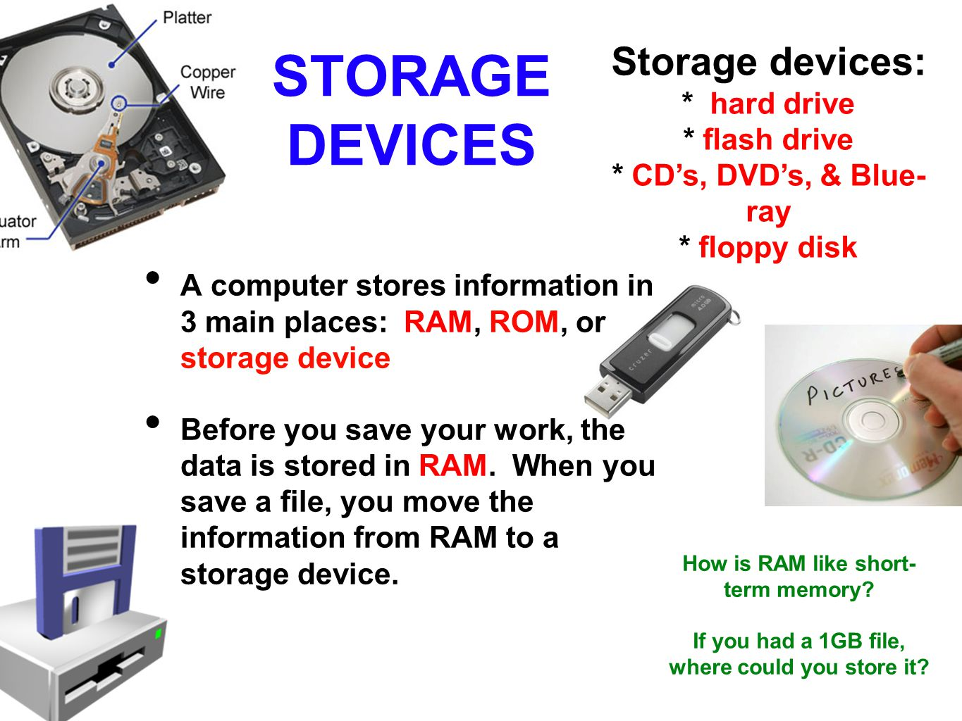 STORAGE DEVICES Storage devices: * hard drive * flash drive