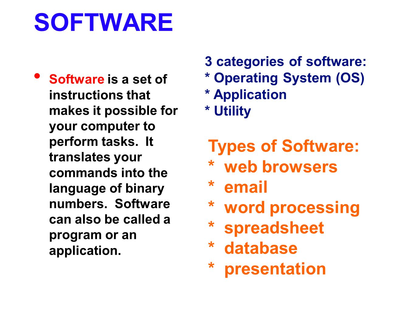 SOFTWARE Types of Software: * web browsers * email * word processing