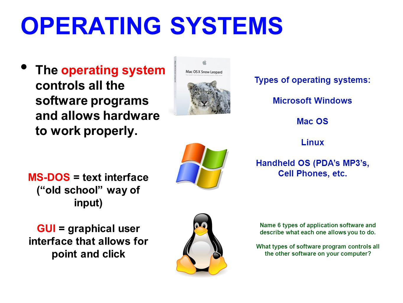 OPERATING SYSTEMS The operating system controls all the software programs and allows hardware to work properly.