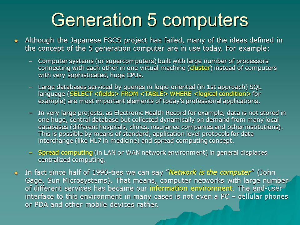 Generation 5 computers