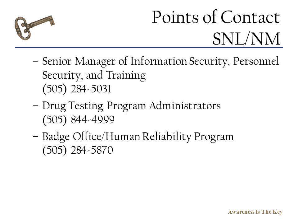 Points of Contact SNL/NM