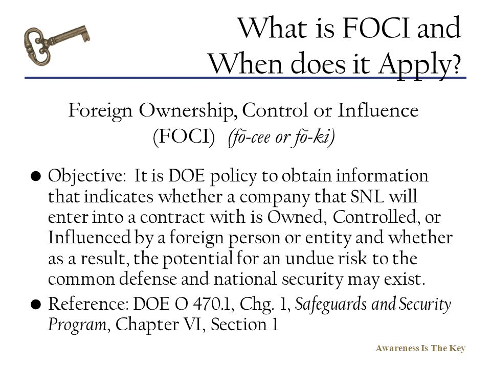 What is FOCI and When does it Apply