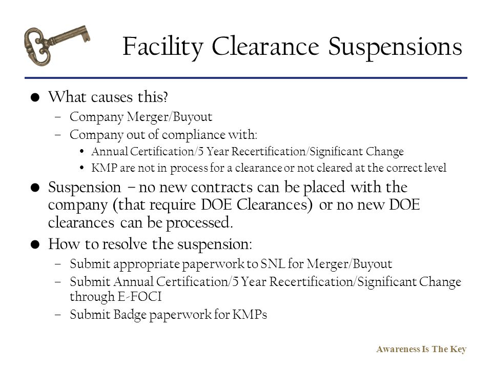 Facility Clearance Suspensions