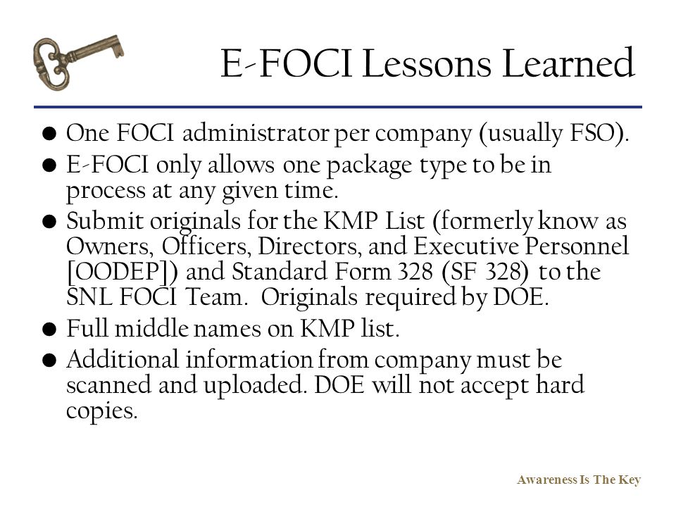 E-FOCI Lessons Learned