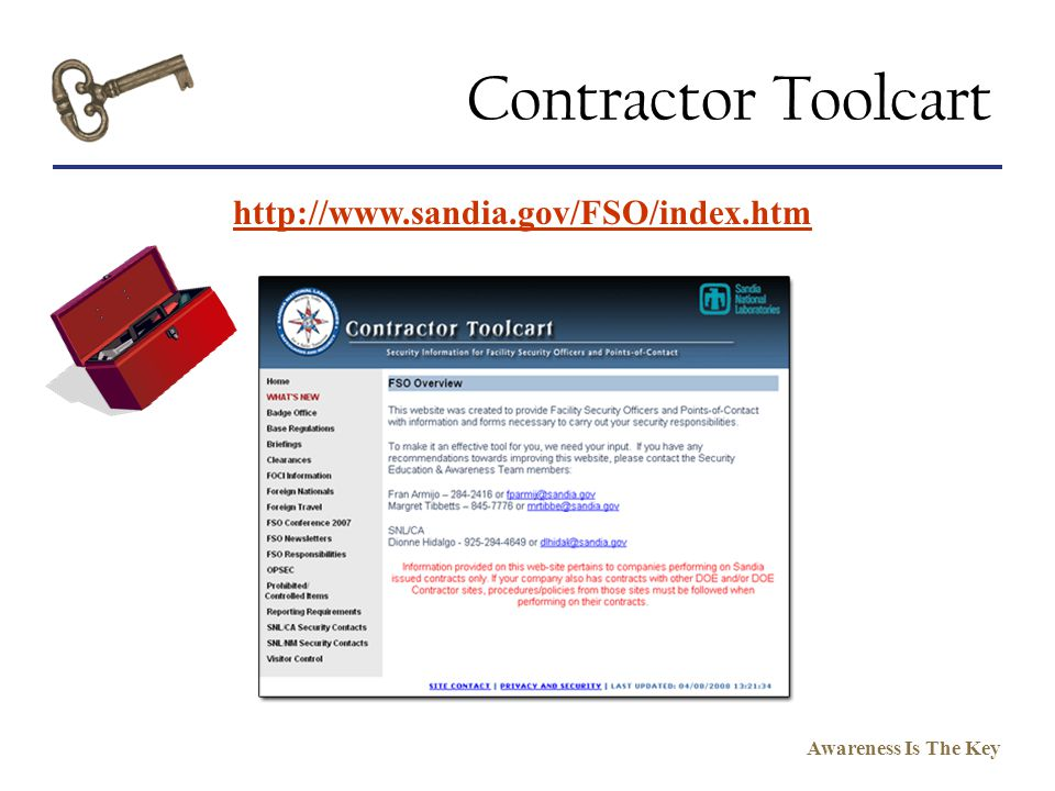 Contractor Toolcart http://www.sandia.gov/FSO/index.htm