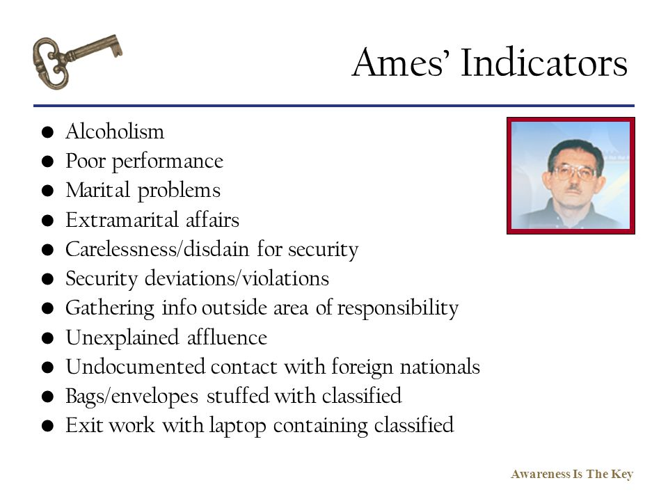 Ames' Indicators Alcoholism Poor performance Marital problems