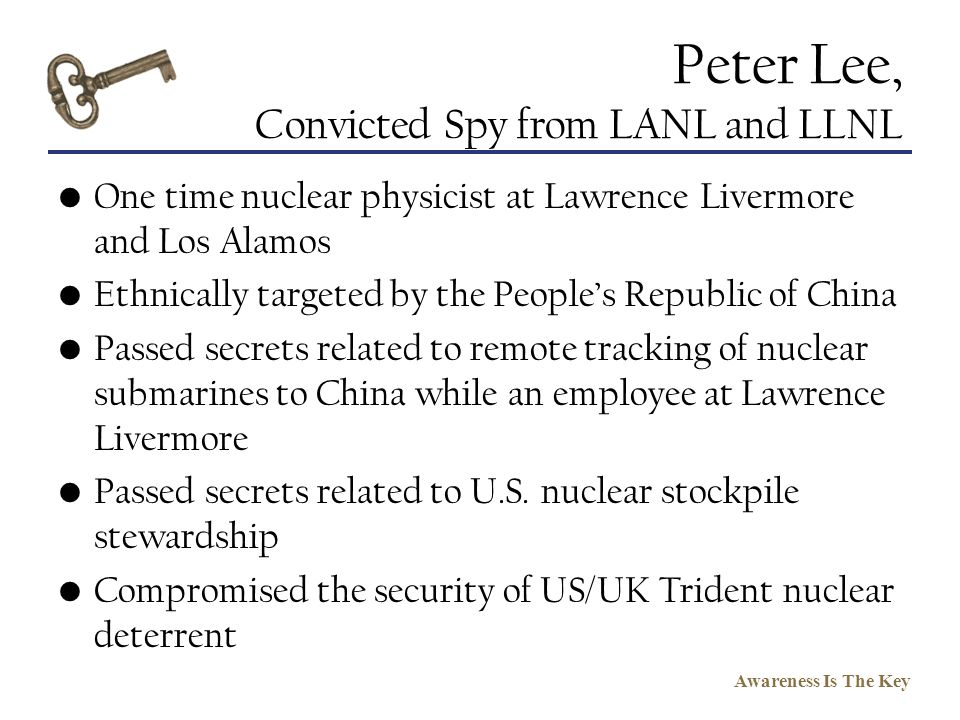 Peter Lee, Convicted Spy from LANL and LLNL