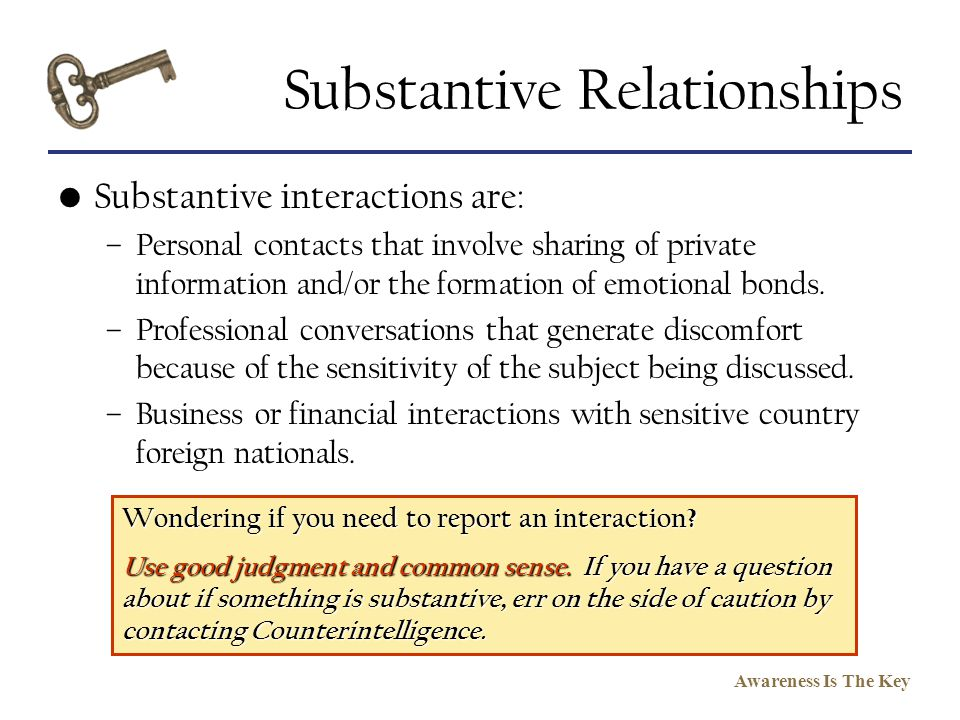 Substantive Relationships