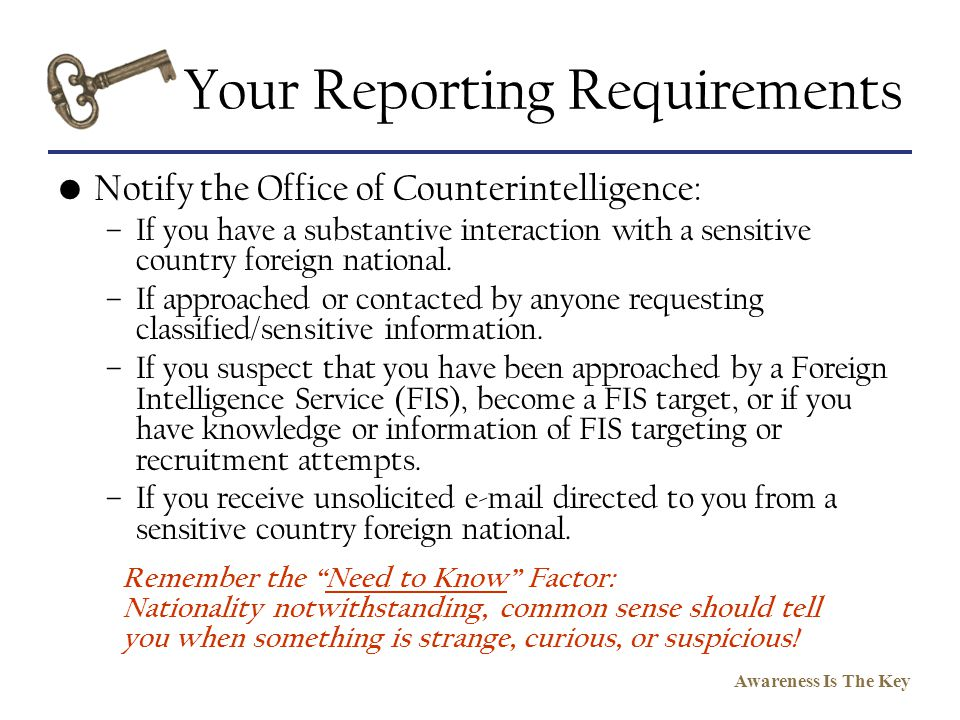 Your Reporting Requirements