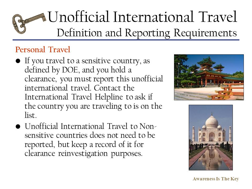 Unofficial International Travel Definition and Reporting Requirements