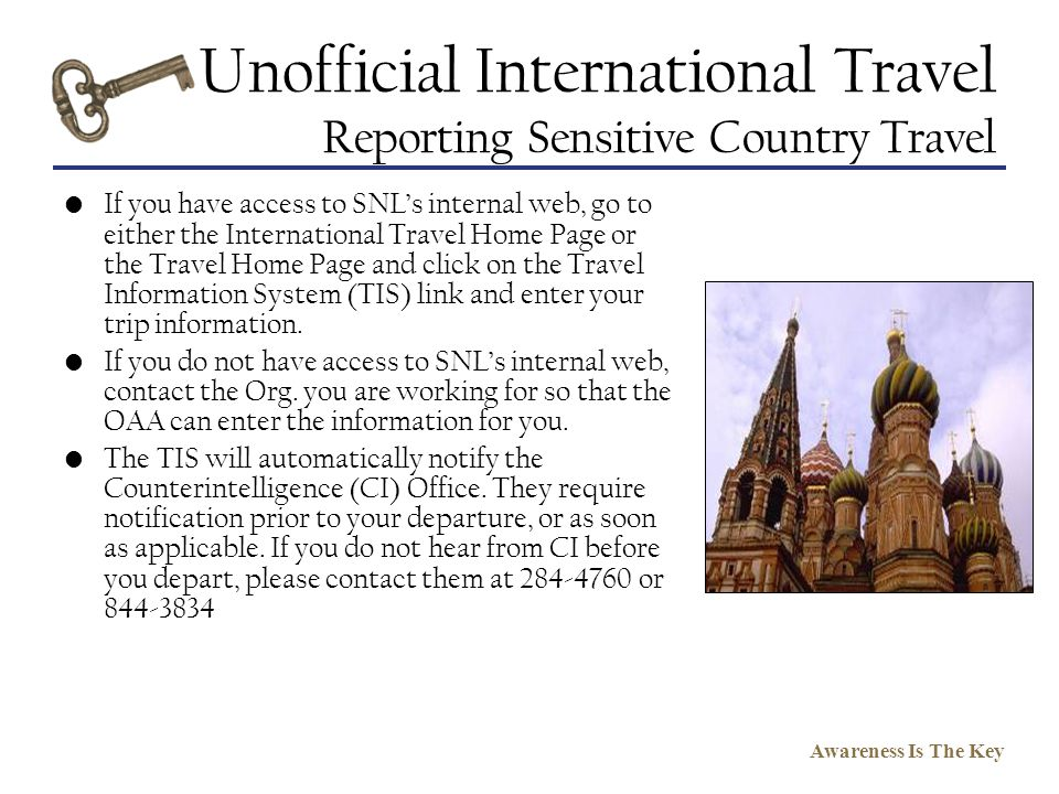 Unofficial International Travel Reporting Sensitive Country Travel