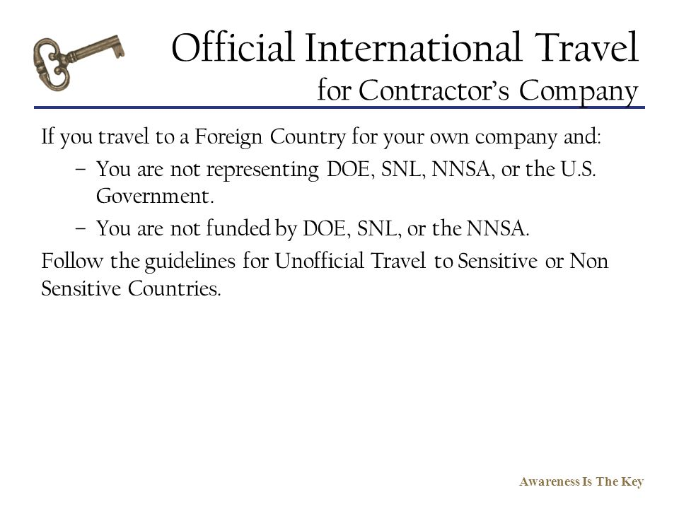 Official International Travel for Contractor's Company