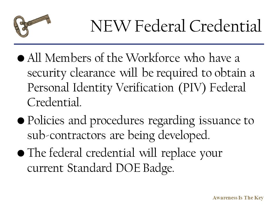 NEW Federal Credential