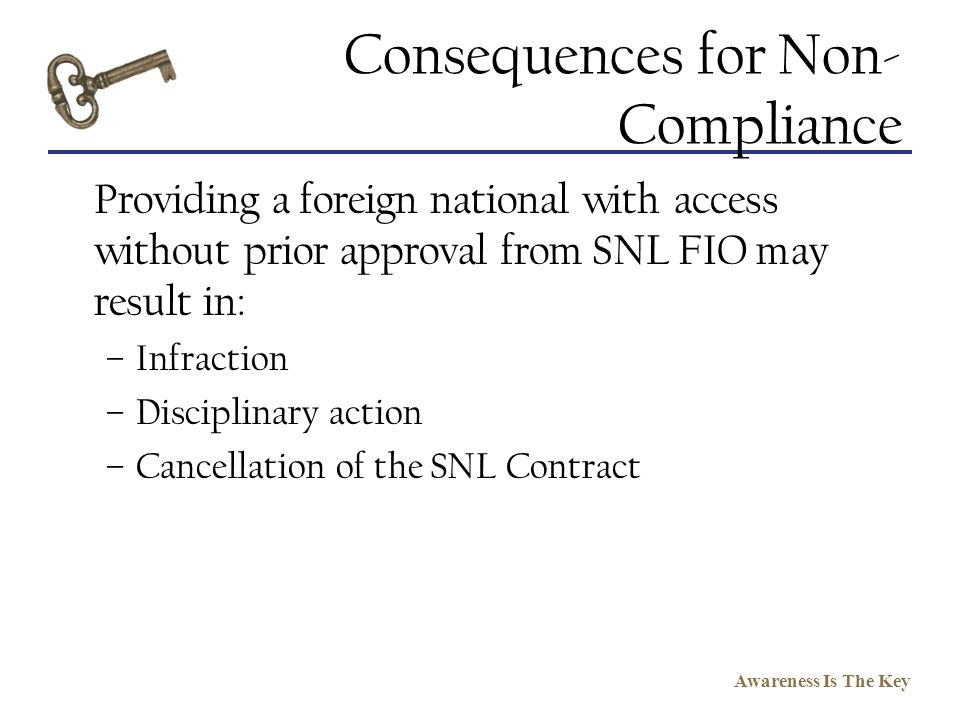 Consequences for Non-Compliance