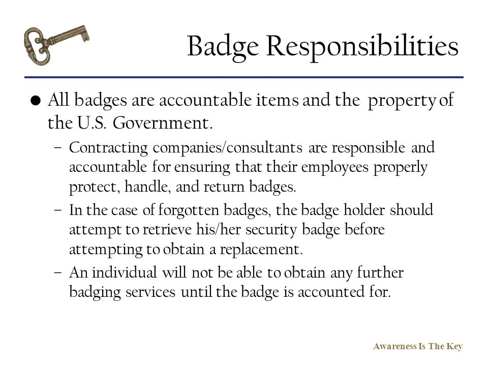 Badge Responsibilities