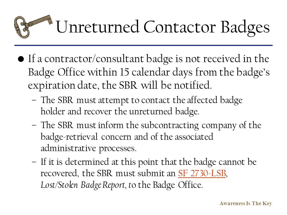 Unreturned Contactor Badges