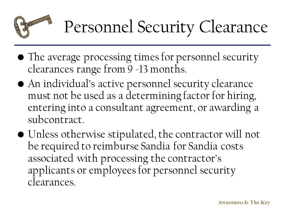 Personnel Security Clearance