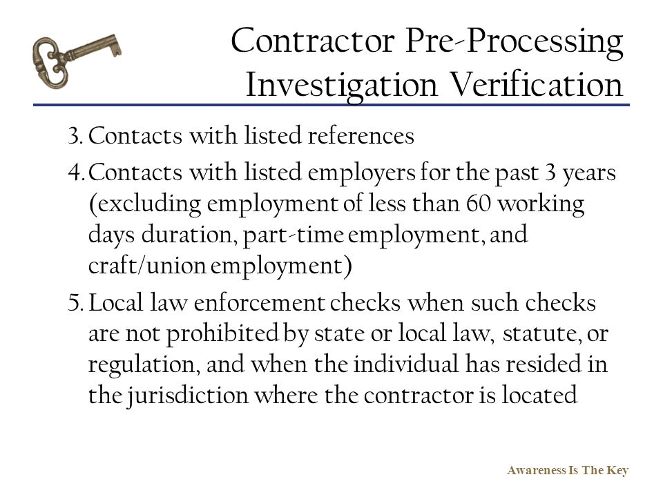 Contractor Pre-Processing Investigation Verification