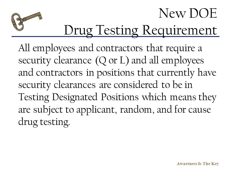 New DOE Drug Testing Requirement