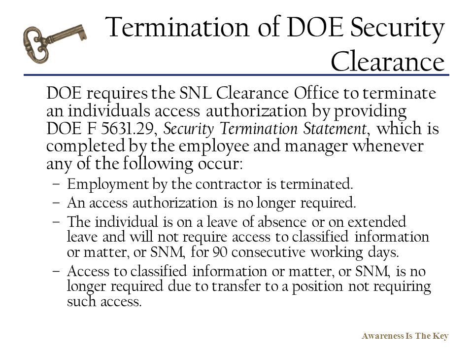Termination of DOE Security Clearance
