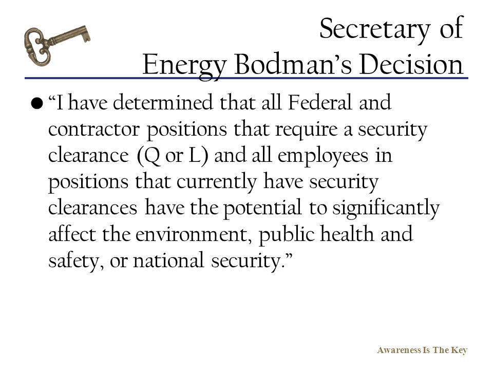 Secretary of Energy Bodman's Decision