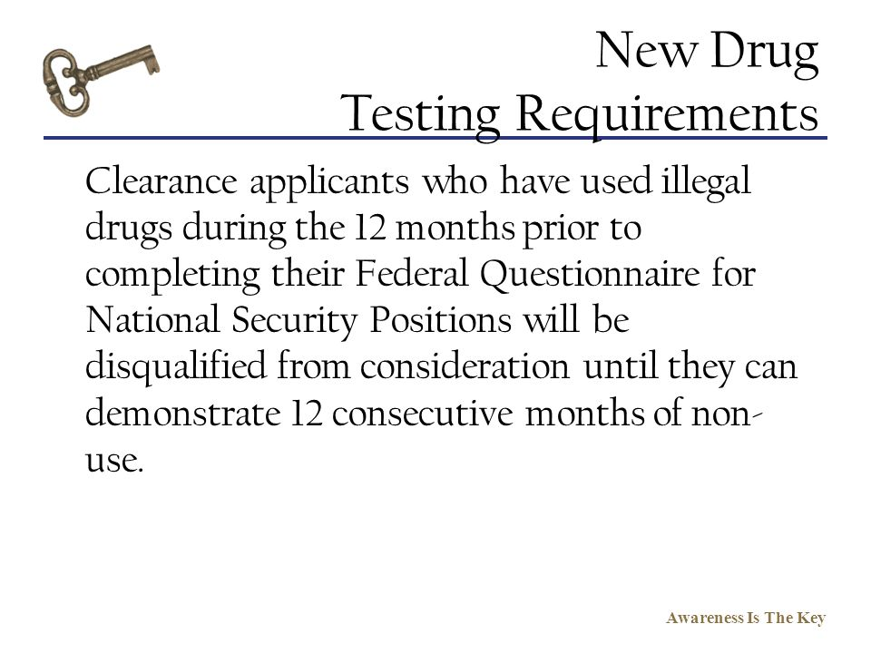 New Drug Testing Requirements