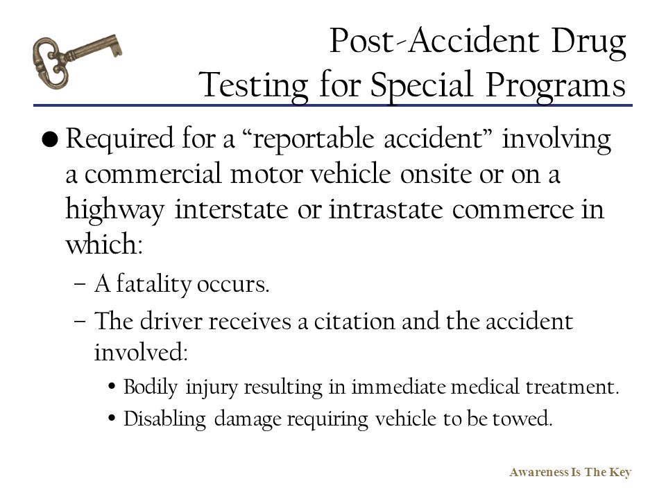Post-Accident Drug Testing for Special Programs