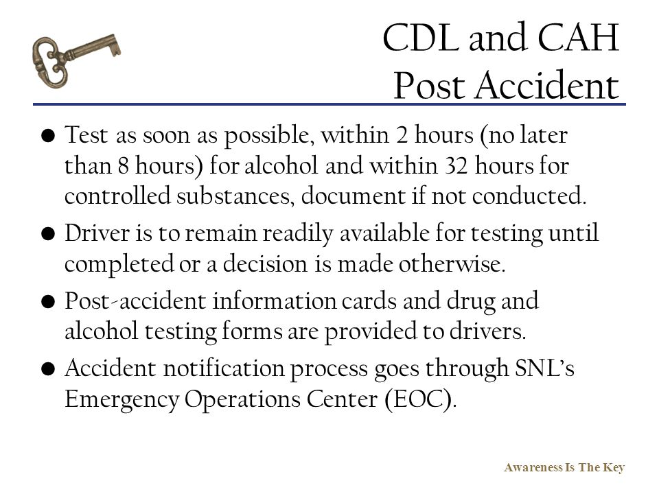 CDL and CAH Post Accident