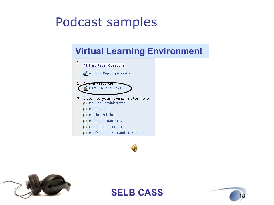 Podcast samples Virtual Learning Environment