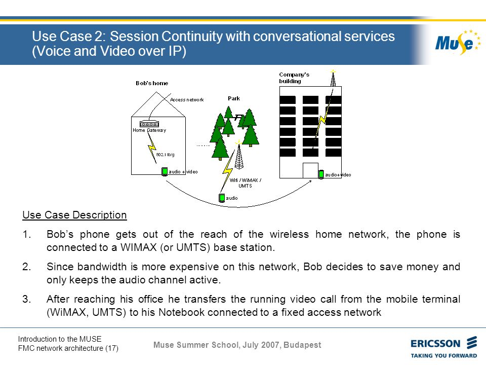 Use Case 2: Session Continuity with conversational services (Voice and Video over IP)