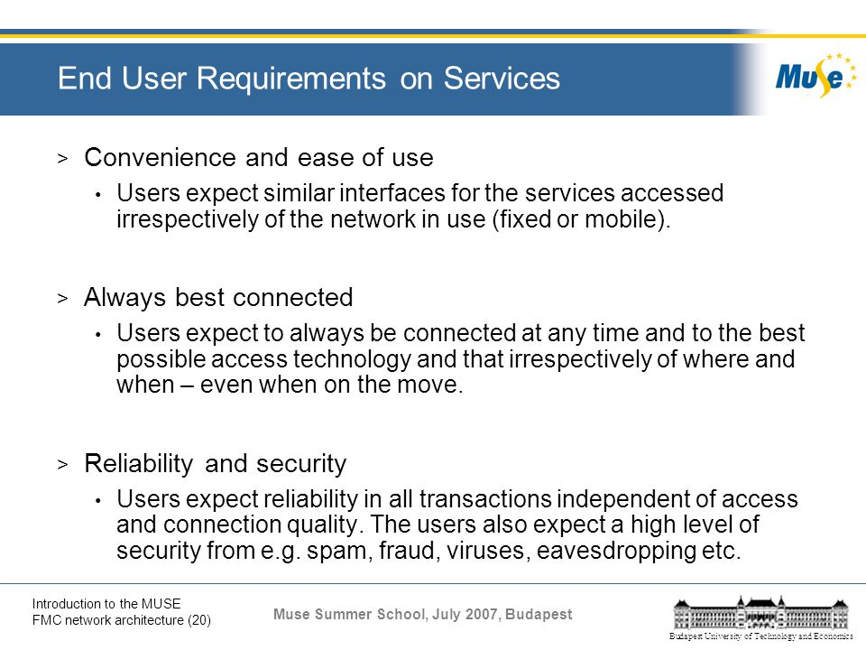 End User Requirements on Services