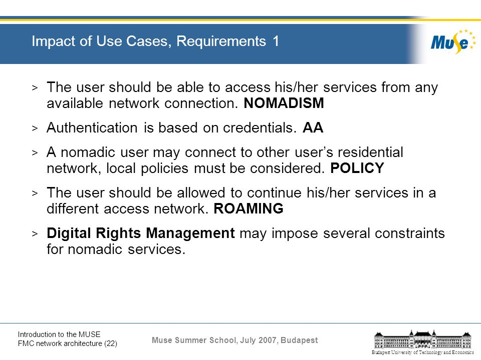 Impact of Use Cases, Requirements 1