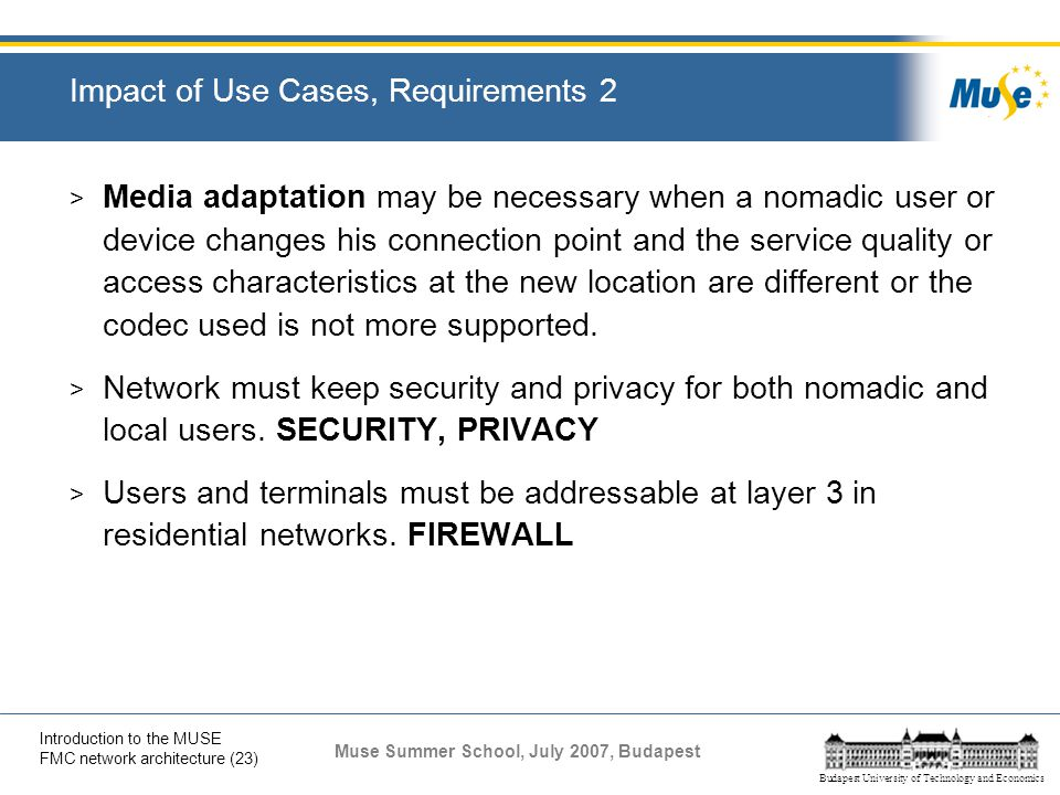 Impact of Use Cases, Requirements 2