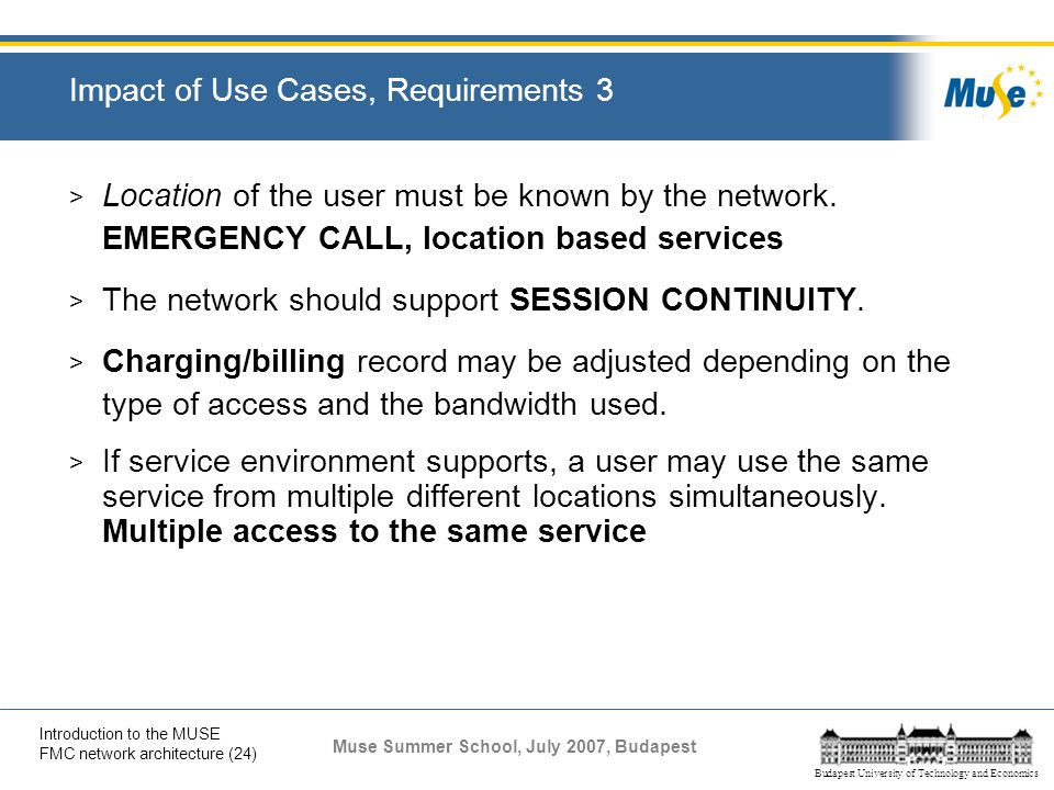 Impact of Use Cases, Requirements 3