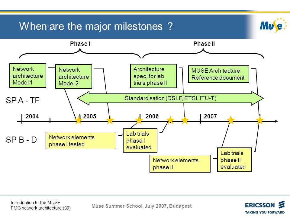 When are the major milestones