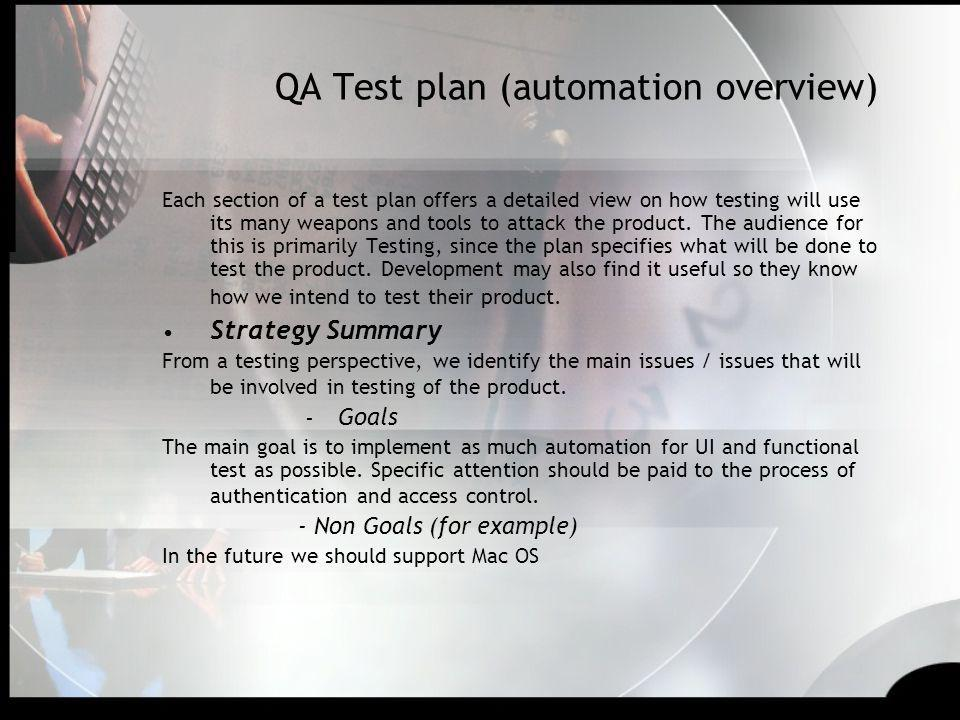 QA Test plan (automation overview)