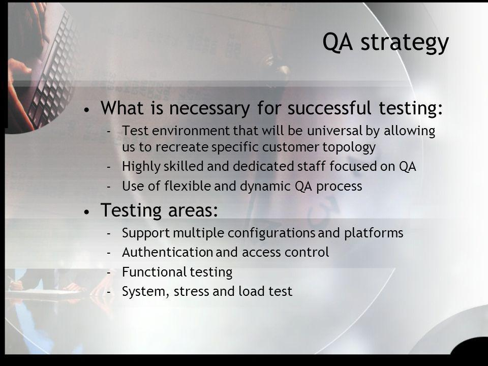 QA strategy What is necessary for successful testing: Testing areas: